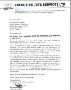 Executive Jet Apology letter