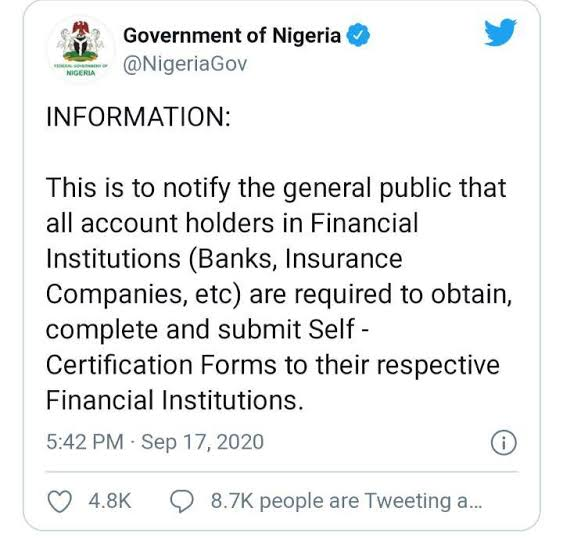 Despite BVN, FG Directs Nigerians with Bank Accounts to Register Again
